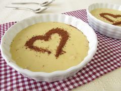 Tiramisu cream with heart from cocoa powder - stock photo