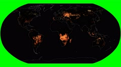 NEO - Active Fires. Continents. Robinson. Meridians rotating Stock Footage
