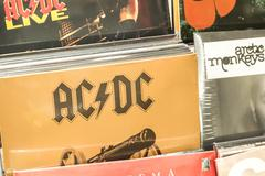 Vinyl Records Featuring Famous Rock Music - stock photo