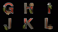 Loop alpha matted military alphabet set Stock Footage