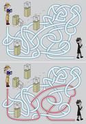 Detective maze - stock illustration
