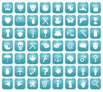 Aqua Downy Icon Set 1 - stock illustration