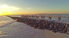 Aerial South Pointe Rock Jetty Stock Footage