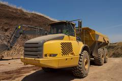 Truck  work in the quarry - stock photo