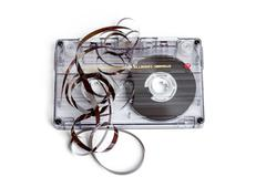 Close up of vintage audio tape cassette Stock Photos