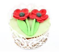 Spring flower sweet muffin on white Stock Photos