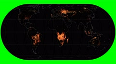 NEO - Active Fires. Continents. Eckert IV. Graticule. Meridians rotating Stock Footage
