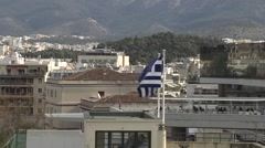 Greek flag in Athens,Greece Stock Footage