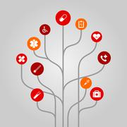 Abstract icon tree illustration - medicine and healthcare concept Stock Illustration