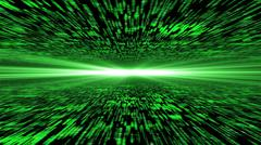 matrix 3d - flying through energized cyberspace, light on the horizon - stock photo