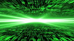 matrix 3d - flying through energized cyberspace, strong light on the horizon - stock photo