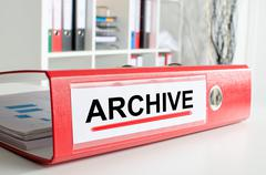 Archive wording on a binder - stock photo
