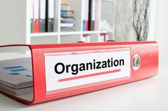 Organization wording on a binder Stock Photos