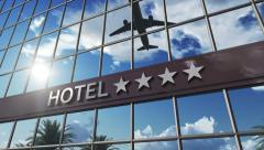 Hotel sign with stars on facade Stock Footage