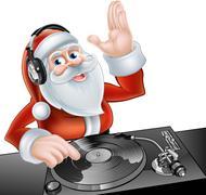 Cartoon DJ Santa - stock illustration