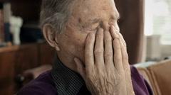 Sad old man Stock Footage