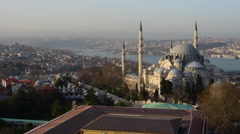 Istanbul, Turkey, aerial view, skyline, Suleymaniye Mosque Panoramic Stock Footage