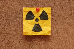 Crumpled Radioactive Sign - stock photo