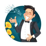 Singer sing with orchestra - stock illustration