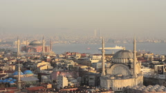 Aerial view of Istanbul two famous mosque, Nuruosmaniye and Hagia Sophia sunset Stock Footage