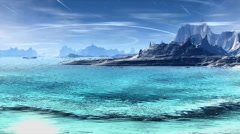 3D rendered fantasy alien planet. Rocks and lake Stock Footage