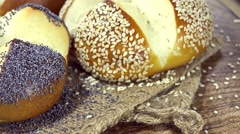 Fresh baked Pretzel Rolls (loopable) Stock Footage