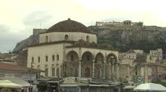 Monastiraki Square in Athens,Greece Stock Footage
