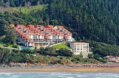 Houses near sea in Urdaibai. Basque Country Stock Photos