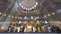 Time Lapse video of people inside a mosque in Istanbul Turkey (Editorial) - stock footage