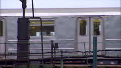 NY-elevated train day cu - stock footage