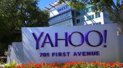 Establishing shot of Yahoo Headquarters in Sunnyvale California. Stock Footage
