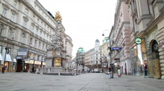 The Pestsaule (Plague Column) at Graben street in Vienna Stock Footage