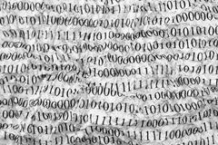 Crushed paper with binary code Stock Photos