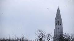 Flock of birds swarming around Halgrimskirkja church in Reykjavik, Iceland on Stock Footage
