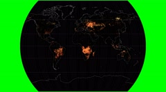 NEO - Active Fires. Continents. Times. Graticule. Meridians rotating Stock Footage