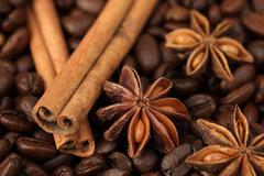 Cinnamon sticks, star anise and coffee beans - stock photo
