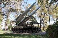 Elements of anti-aircraft missiles - stock photo