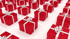 Stock Video Footage of Red gift boxes. (loop-ready file).