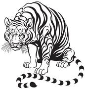 Sitting tiger Stock Illustration