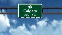 4K Passing Calgary Canada Transcanada Highway Sign with Matte 2 stylized Stock Footage