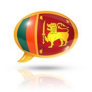 Sri Lanka flag speech bubble - stock illustration