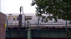 NY-elevated train day ms long lens - stock footage