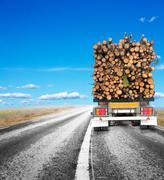 Trailer with timber Stock Photos