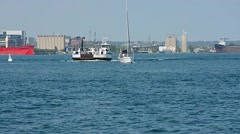 FerryBoat Sailboat City Harbour 01svv Stock Footage