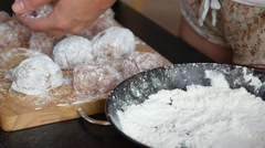 Cooking Cutlets by Hand on Table with Flour Stock Footage