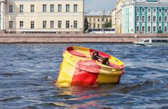 Anchor buoy at the Neva river in Saint-Petersburg, Russia Stock Photos