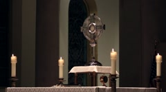 Adoration of the Blessed Sacrament on an Altar Stock Footage