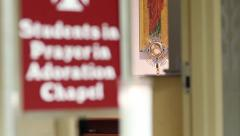 Students In Adoration Chapel Stock Footage