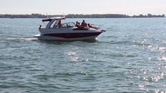 Powerboat Lakeview Summer 03PanHsvv Stock Footage