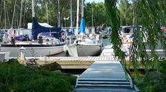 Marina Lakeview Sailboats 02svv Stock Footage